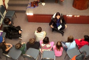 Students gather round Rav Rebekah