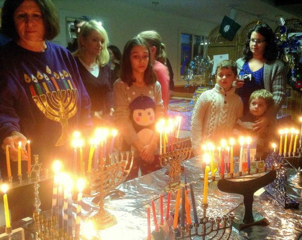 Lighting the Menorahs
